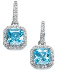 B. Brilliant Aqua And Clear Cubic Zirconia Earrings In Sterling Silver 2 9 10 Ct. T.W.