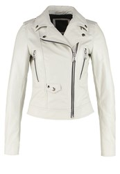 Replay Leather Jacket Offwhite Off White