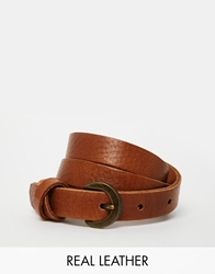 Asos Leather Waist Belt With Cross Detail Tan