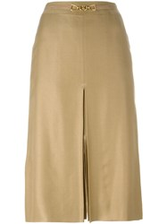 Celine Vintage Front Slit Belted Skirt Nude And Neutrals