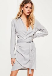 Missguided Grey Tie Waist Wrap Dress Blue