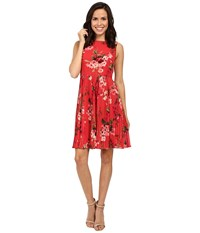 Adrianna Papell Printed Pleated Fit And Flare Dress Rose Marquee Multi Women's Dress Red
