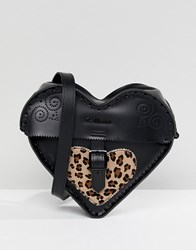 Dr. Martens Dr Leather Heart Cross Body Bag With Leopard Contrast Black Leopard