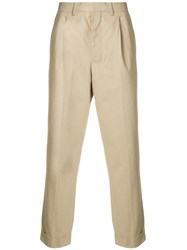 Ami Alexandre Mattiussi Pleated Carrot Fit Trousers Neutrals