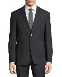 Versace Pinstripe Two Piece Wool Blend Suit Gray Blue