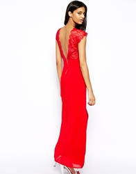 Elise Ryan Maxi Dress With Lace Scallop Back Red