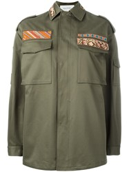 Valentino Embroidered Military Jacket Green