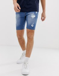 Loyalty And Faith Denim Shorts With Abbrasions Blue