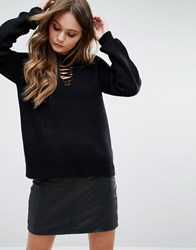 New Look Chunky Lace Front Jumper Black