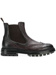 Santoni Punch Hole Ankle Boots Brown