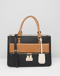 Dune Colourblock Tote Bag With Buckle Detail Black Tan