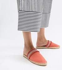 London Rebel Espadrille Mules Orange