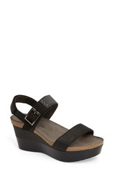Naot Footwear Women's Alpha Platform Wedge Sandal Sandal Coal Grey Leather