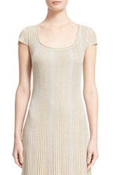 Women's St. John Collection 'Kiklos' Shimmer Knit Flared Dress Alabaster Gold