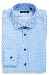 Men's Sand Trim Fit Print Dress Shirt