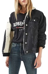Topshop Women's Moto Borg Lined Denim Jacket