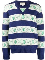 Gucci Gg Lyre Striped Jacquard Knitted Sweater Blue