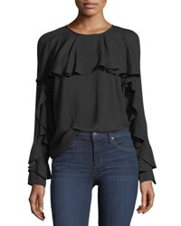 Ella Moss Stella Round Neck Long Sleeve Top With Ruffled Trim Black