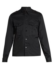 Maison Martin Margiela Point Collar Back Button Cotton Shirt Black