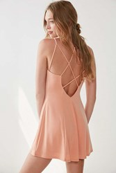 Silence And Noise Strappy Low Back Mini Dress Peach