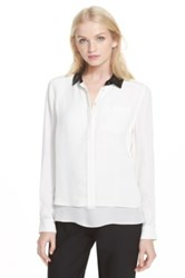 Kate Spade Sequin Collar Popover Blouse White