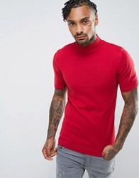Asos Turtle Neck T Shirt In Muscle Fit In Red Red