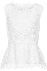 Oscar De La Renta Cotton Blend Guipure Lace Peplum Top White