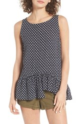 Hinge Women's Asymmetrical Hem Tank Navy India Ink Flower Grid