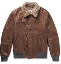 Brunello Cucinelli Cashmere Trimmed Shearling Bomber Jacket Brown