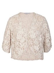 Chesca Ivory Beaded Lace Bolero Cream