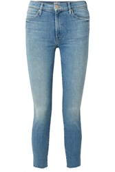 Mother The Stunner Cropped Distressed High Rise Skinny Jeans Light Denim