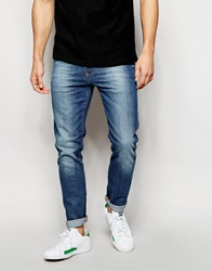 Asos Skinny Jeans In Mid Wash Midblue