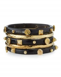 Ashley Pittman Sura Set Of 5 Bangles Dark Horn