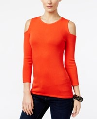 Inc International Concepts Cold Shoulder Sweater Only At Macy's Electric Red