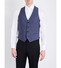 Armani Collezioni V Neck Wool And Mohair Blend Waistcoat Mid Blue