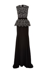 Oscar De La Renta Sleeveless Peplum Gown Black