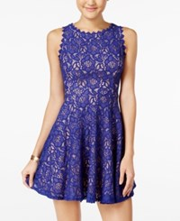 City Studios Juniors' Lace Fit And Flare Dress Royal Peach