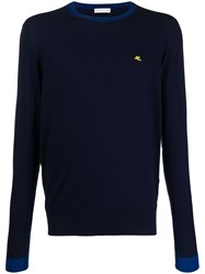 Etro Contrast Collar And Cuffs Knitted Cotton Jumper 60