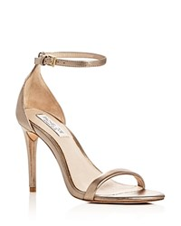 Rachel Zoe Ema Metallic Ankle Strap High Heel Sandals Pale Gold
