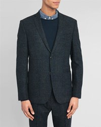 Knowledge Cotton Apparel Navy Blurred Check Jacket