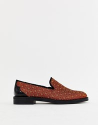House Of Hounds Styx Loafers In Orange Brocade