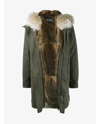 Yves Salomon Rabbit Fur Lined Parka With Coyote Fur Hood Trim Khaki Brown White