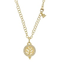 Temple St. Clair 18K Yellow Gold Pave Halo Tree Cutout Pendant With Diamonds White Gold