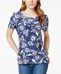 Jm Collection Short Sleeve Floral Print Top Only At Macy's Blue Stencil