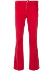 Pt01 Kick Flare Trousers Cotton Spandex Elastane Lyocell Red