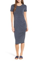 Treasure And Bond Women's Side Ruched Body Con Dress Navy Night Heather
