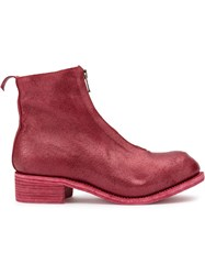 Guidi Coated Zip Ankle Boots Red
