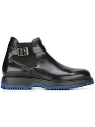 Emporio Armani Chunky Buckled Ankle Boots Black