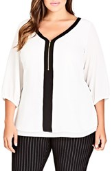City Chic Plus Size Women's Zip Front Top Ivory