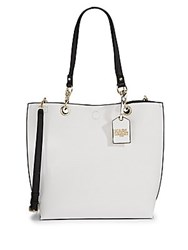 Karl Lagerfeld Bell Reversible Faux Leather Tote White Black